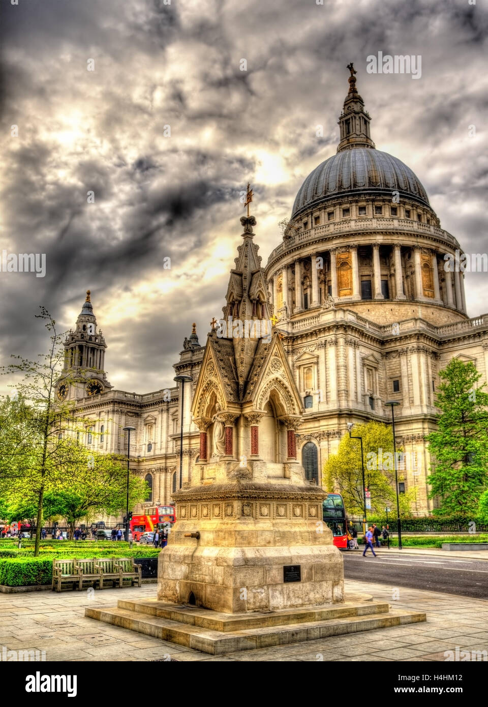 View of St Paul's Cathedral in London - England Stock Photo