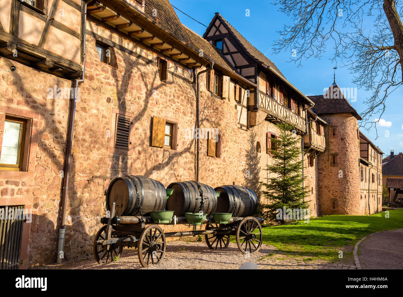 Cart with barrels at Riquewihr - Alsace, France Stock Photo