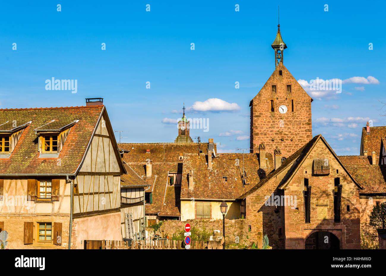 Porte Haute, a gate in Riquewihr - Alsace, France Stock Photo