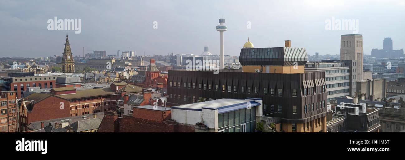Liverpool skyline panorama, Merseyside,North West England, UK - Stock Image