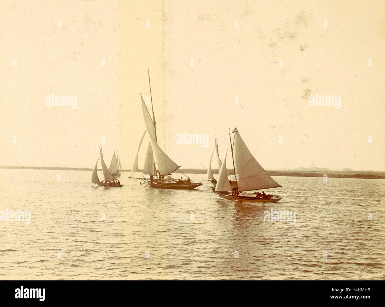Sailing vessels on the water, Anonymous, c. 1900 - c. 1910 - Stock Image