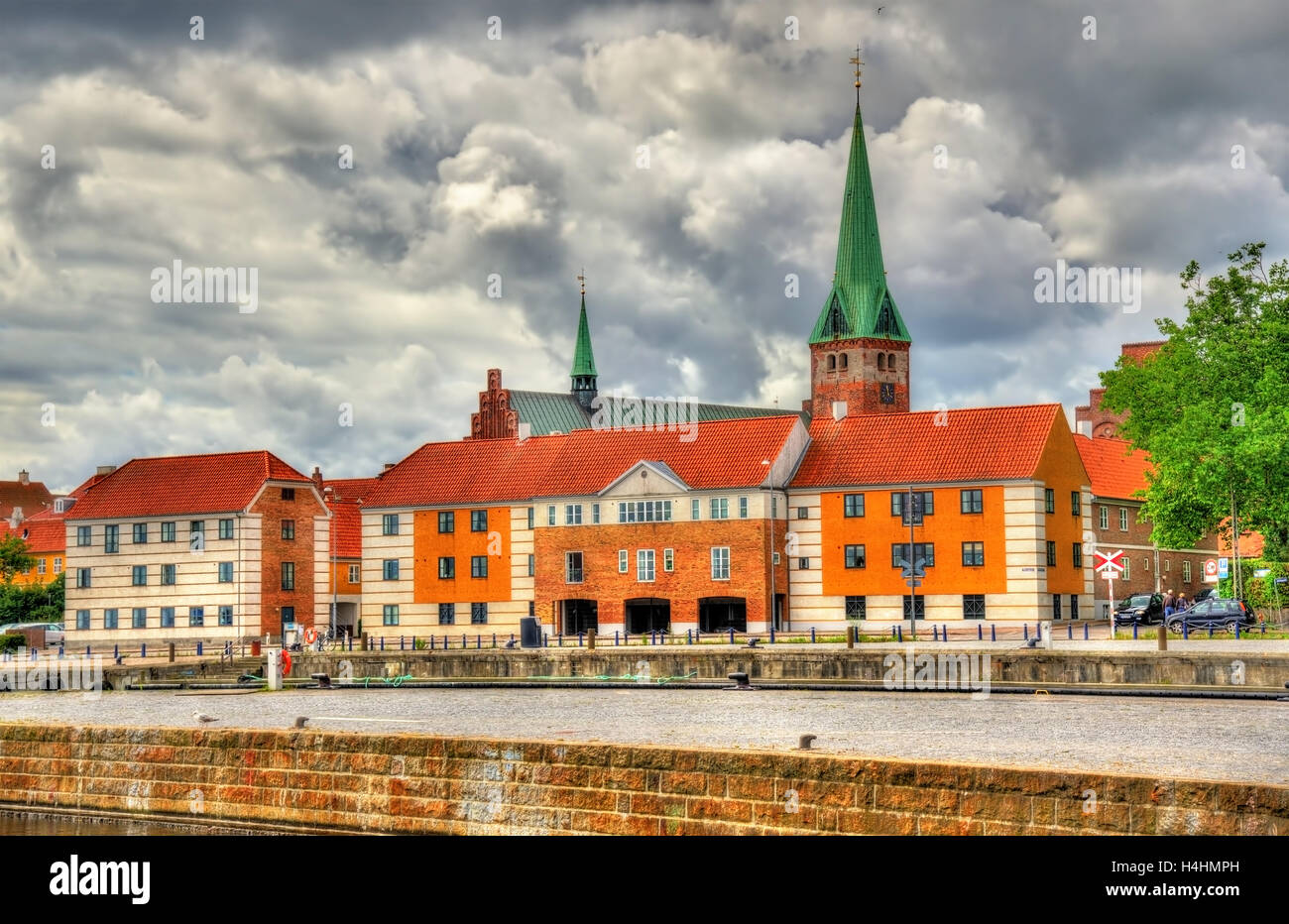 View of Saint Olaf Church in Helsingor, Denmark - Stock Image