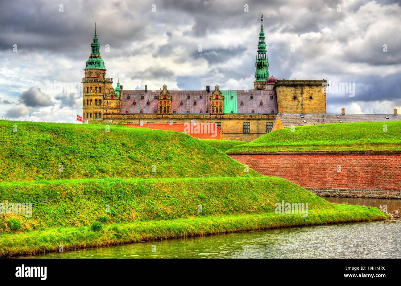 Kronborg Castle, known as Elsinore in the Tragedy of Hamlet - Denmark - Stock Image