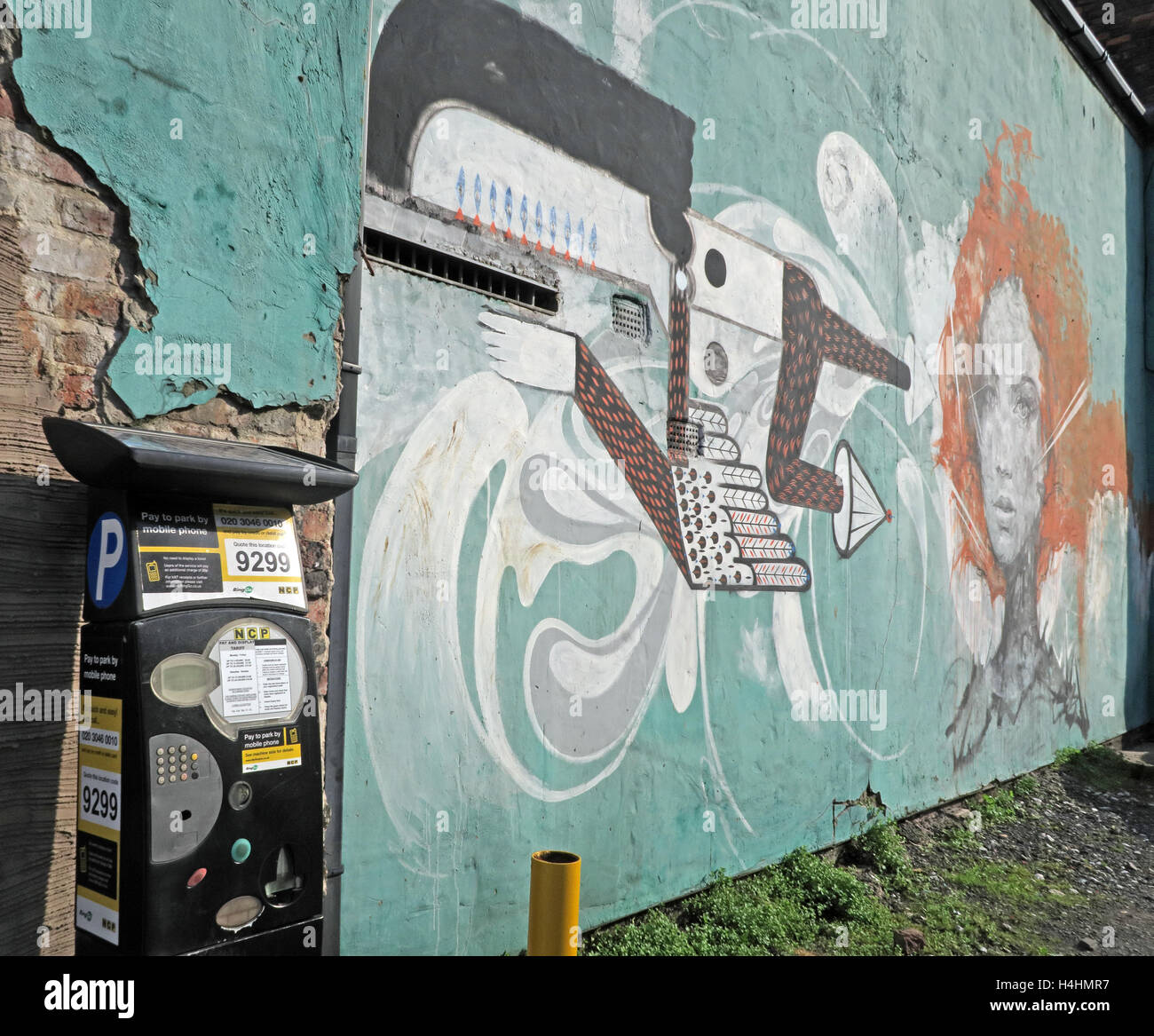 Graffiti Art Smithfield/Tithebarn St,Liverpool,England,UK - with parking machine - Stock Image