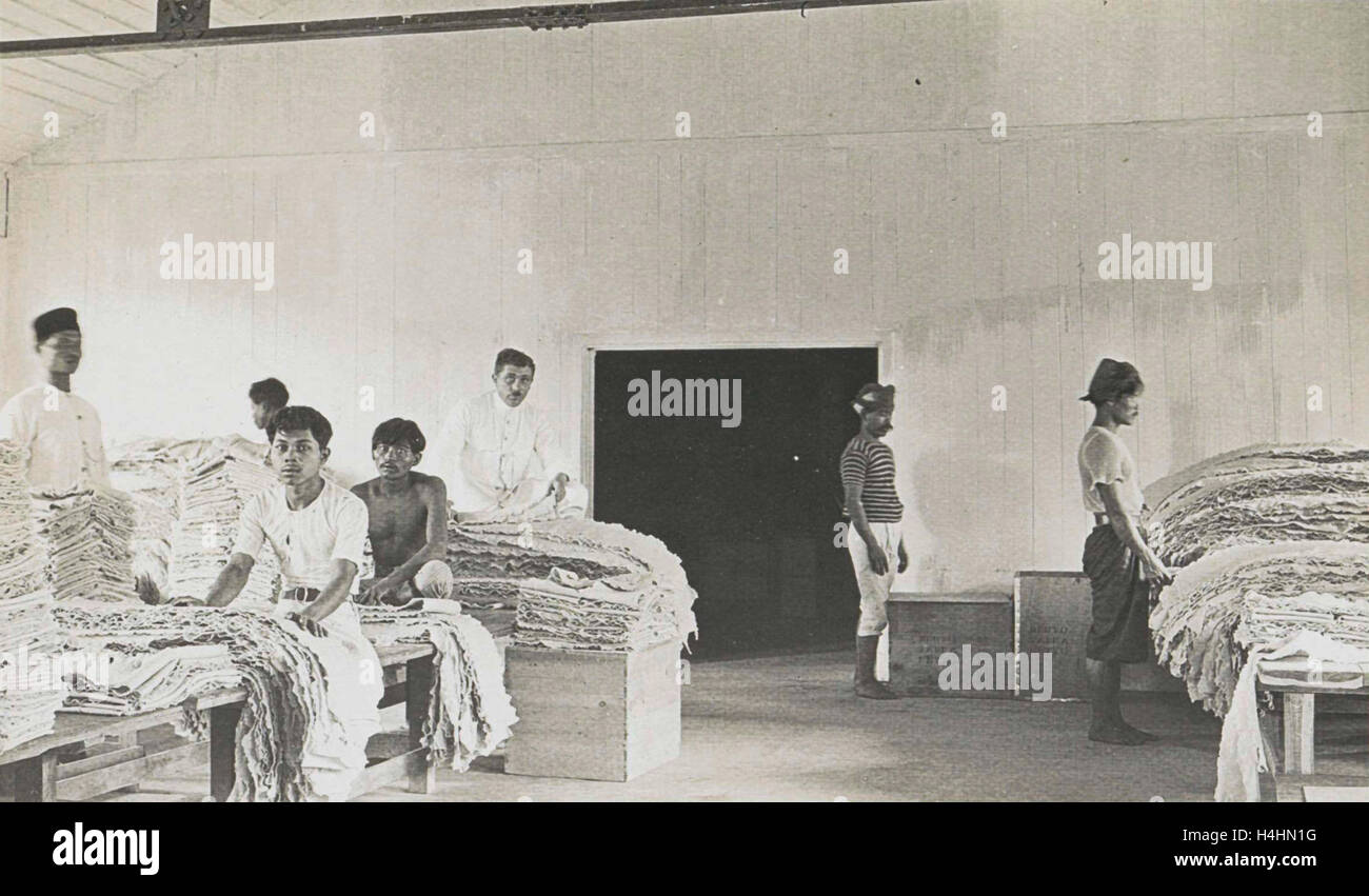 Sumatra indonesia natives sort the rubber in barn, Anonymous, 1900 - 1920 - Stock Image
