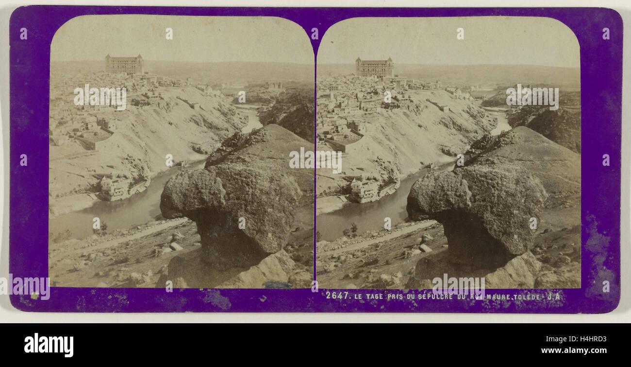Le Tage pris du Sepulcre du Roi Maure, Toledo, Spain, Jean Montaigue Andrieu, 1868 - 1877 - Stock Image
