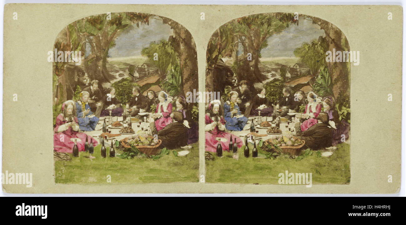 Scene in garden: company during picnic, Anonymous, 1855 - 1865 - Stock Image