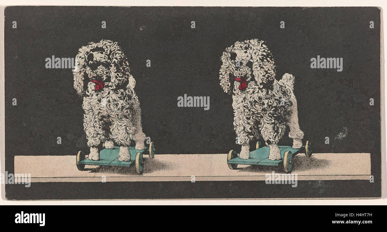 Toy, dog on wheels, stereo lithography - Stock Image