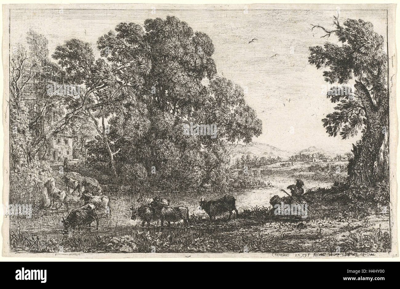 Claude Lorrain, French (1604-1605-1682), The Cowherd (Le bouvier), 1636, etching Stock Photo