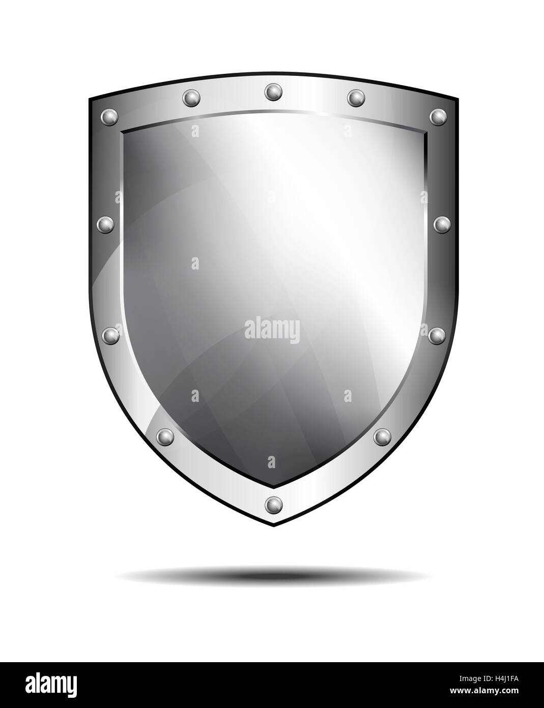 Silver shield, protection Antivirus Security Firewall - Stock Image