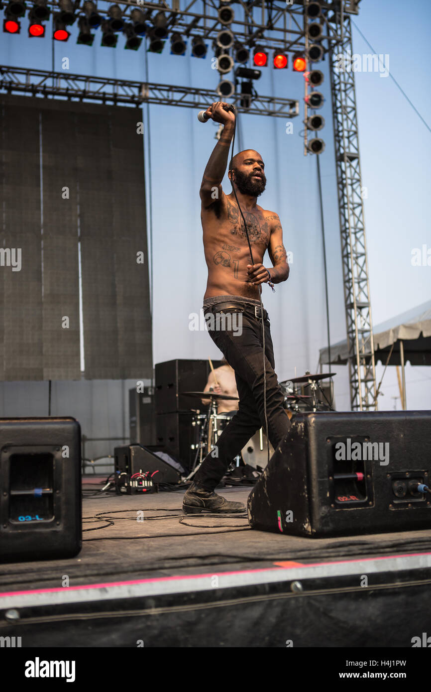 MC Ride of Death Grips performs at RIOT Fest on Friday, August 28th, 2015, at the National Western Complex in Denver, - Stock Image