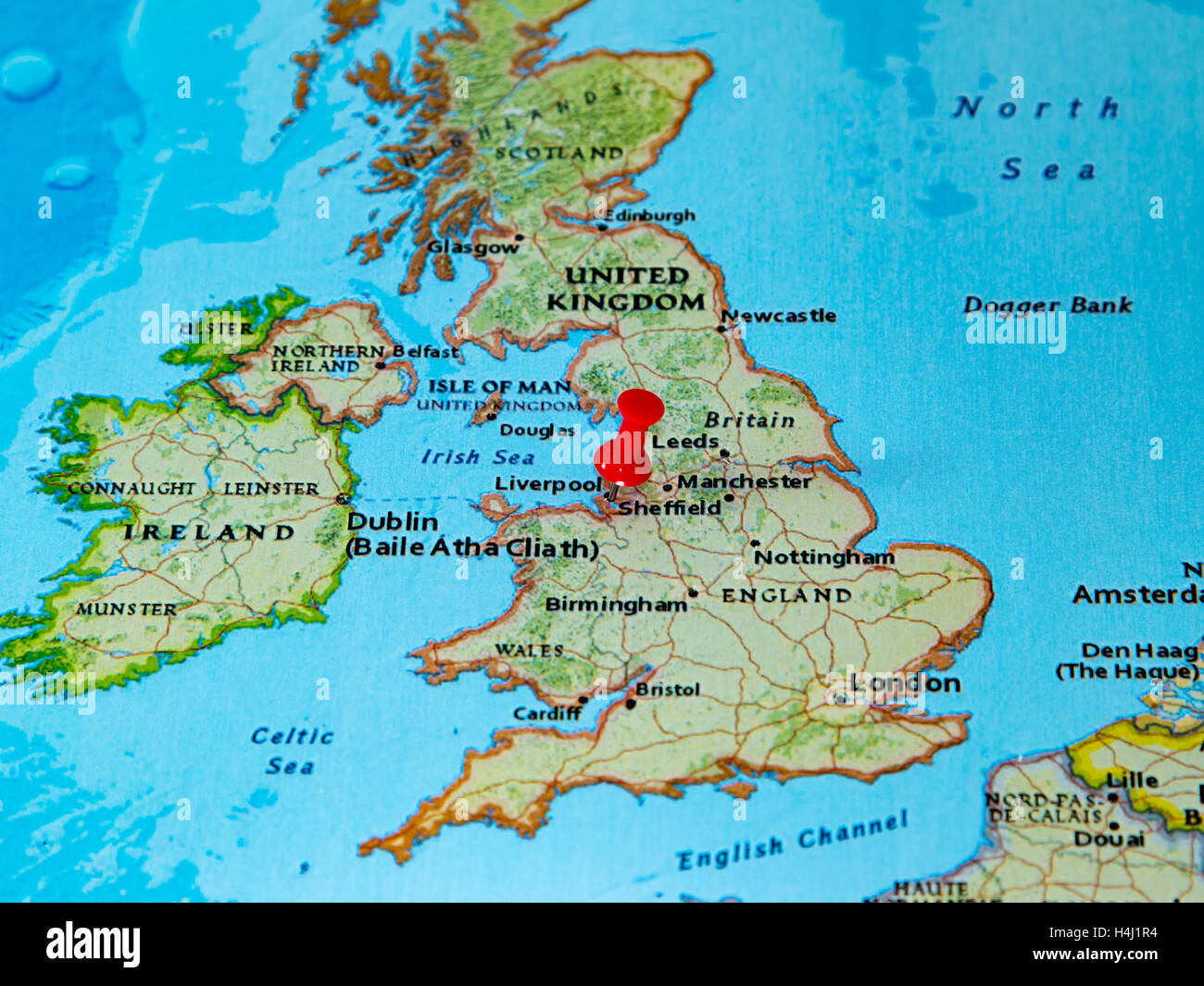 Liverpool, U.K. pinned on a map of Europe Stock Photo: 123327768