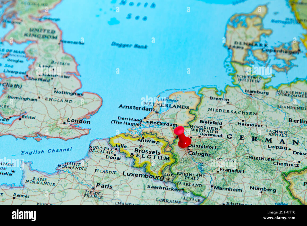 Cologne On Map Of Germany.Cologne Germany Pinned On A Map Of Europe Stock Photo 123327804