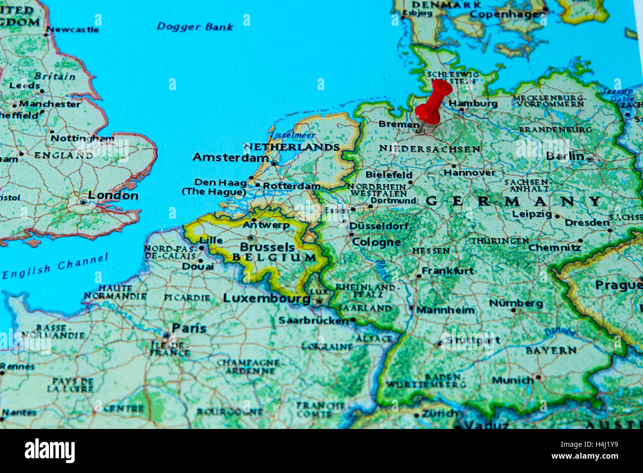 bremen germany pinned on a map of europe