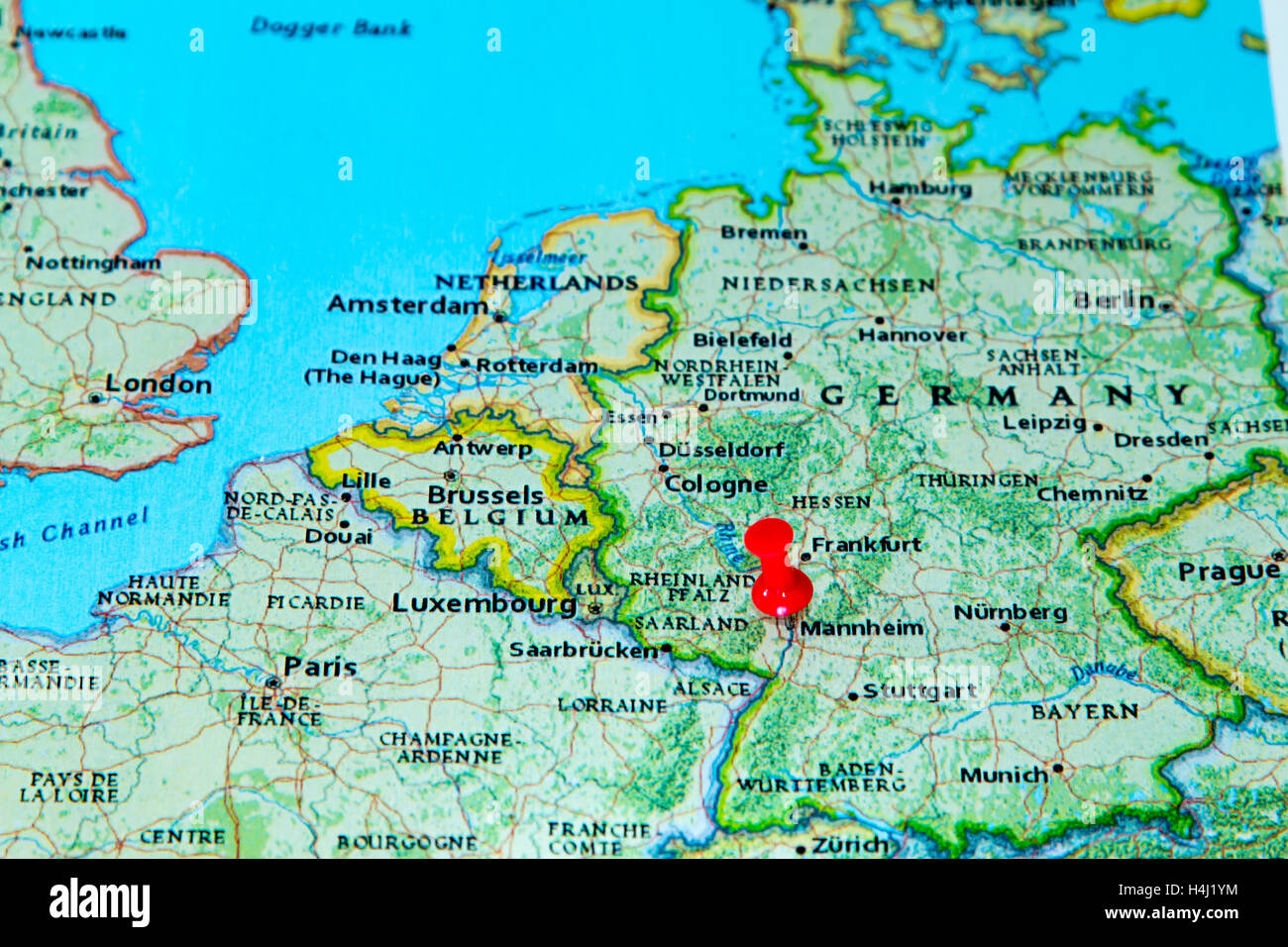 Map Of Germany Mannheim.Mannheim Germany Pinned On A Map Of Europe Stock Photo 123327896