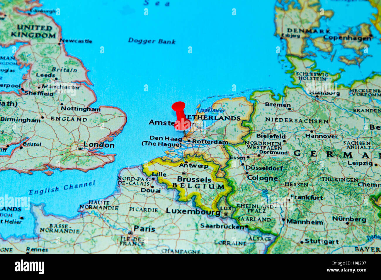 The Hague Netherlands Pinned On A Map Of Europe Stock Photo