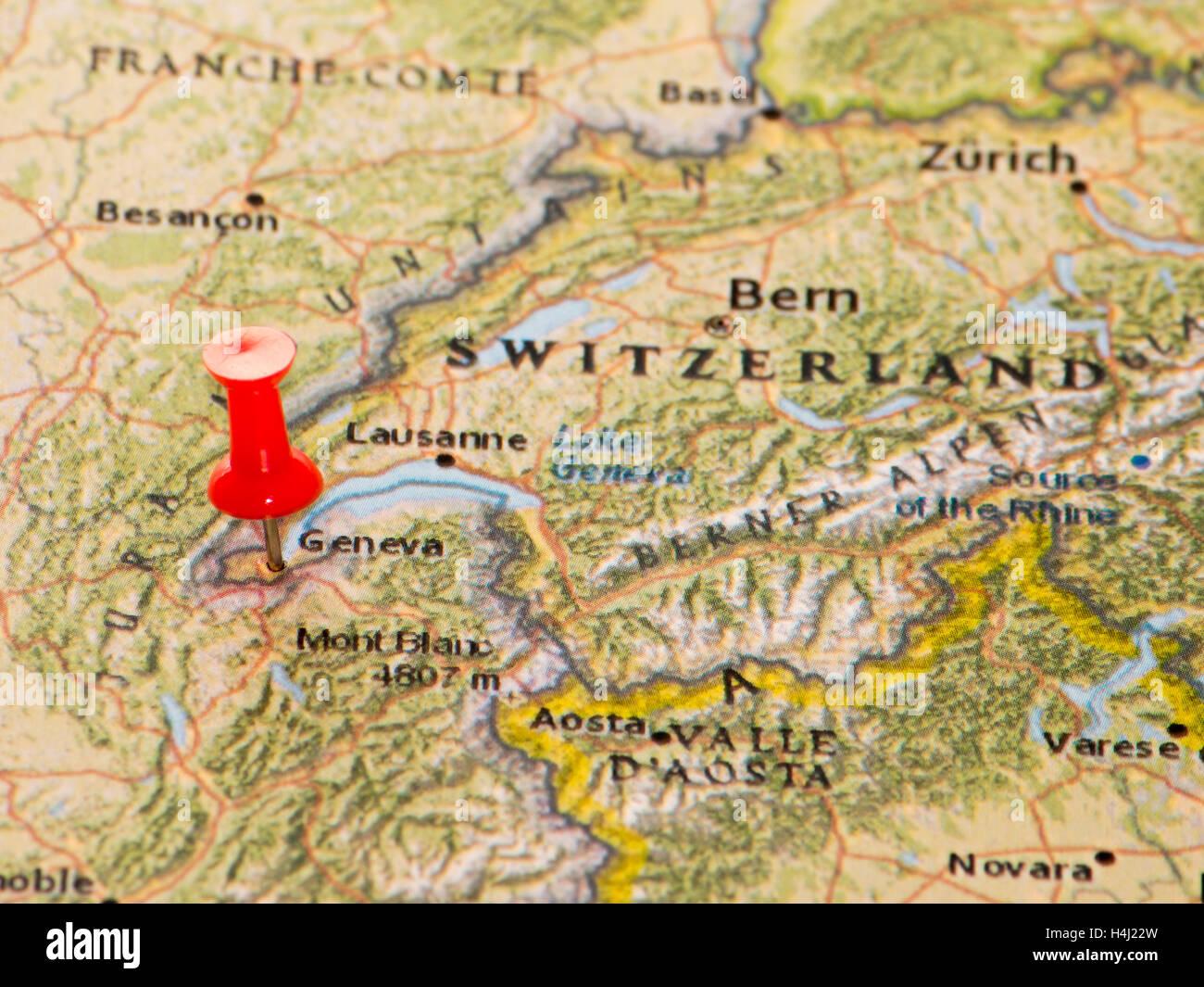 Geneva Switzerland Pinned On A Map Of Europe Stock Photo 123327985
