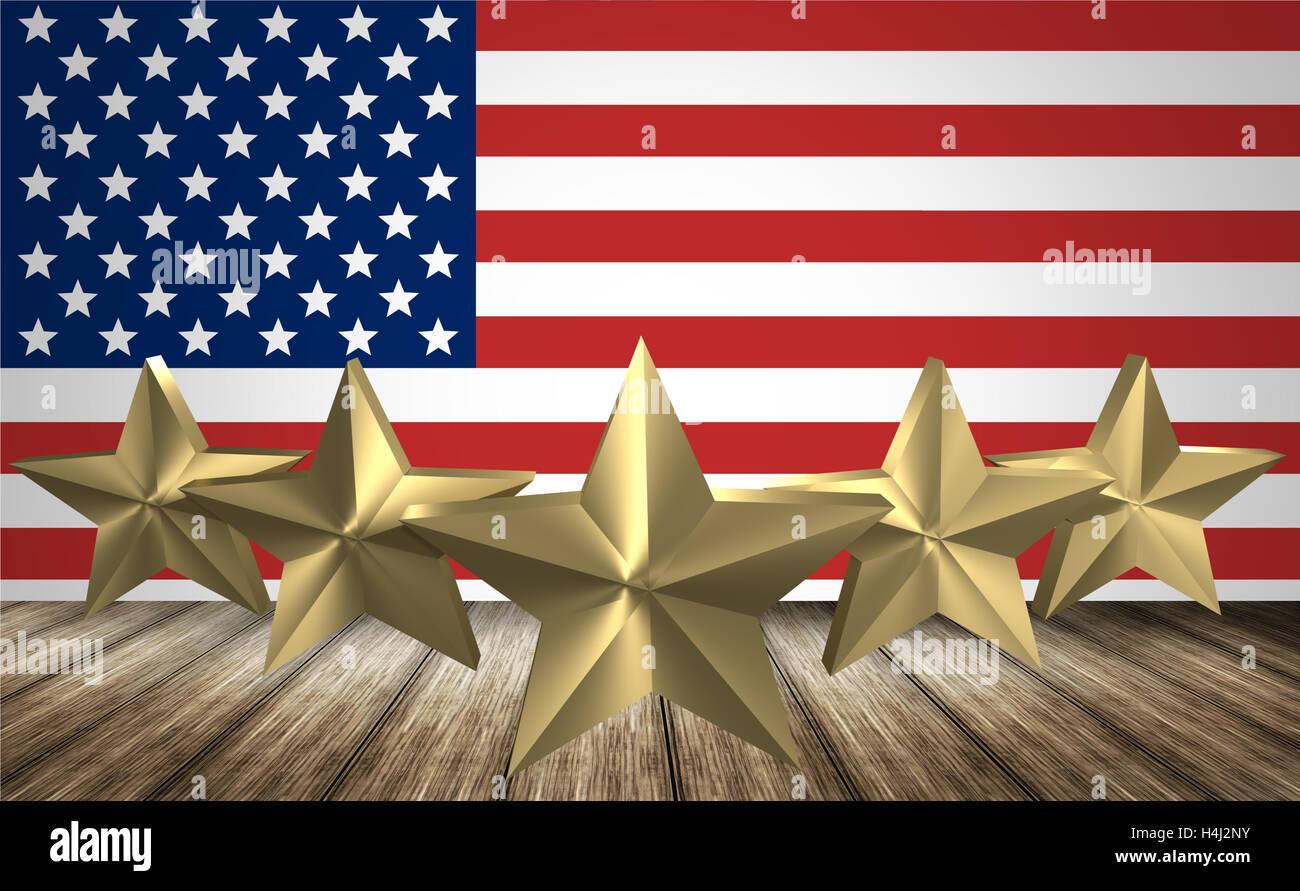 Amerika Sterne Flagge 3d render - Stock Image