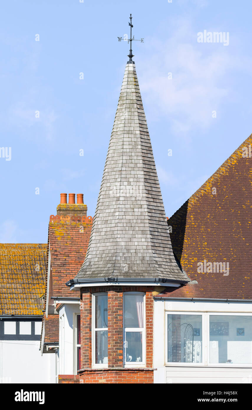 Tall tiled Victorian turret on a house in the UK. - Stock Image