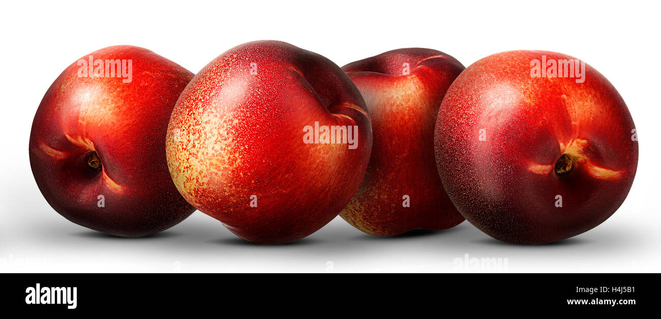 Group of nectarine peach isolated on white background. - Stock Image