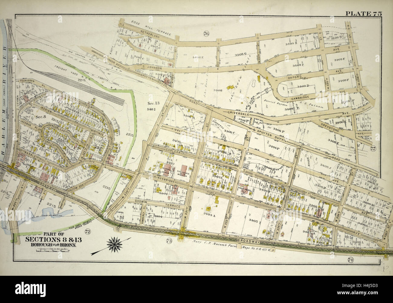 Plate 75, Part of Sections 8&13, Borough of the Bronx. Bounded  by Netherland Avenue, W. 235th Street, Spuyten - Stock Image