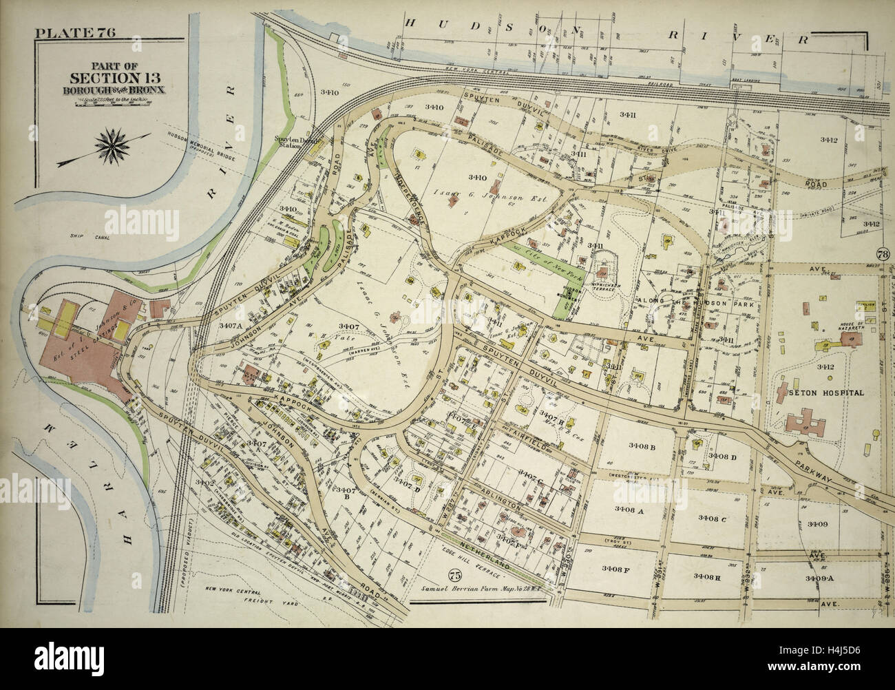 Plate 76, Part of Section 13, Borough of the Bronx. Bounded by Spuyten Duyvil Road, W. 235th Street, Netherland - Stock Image