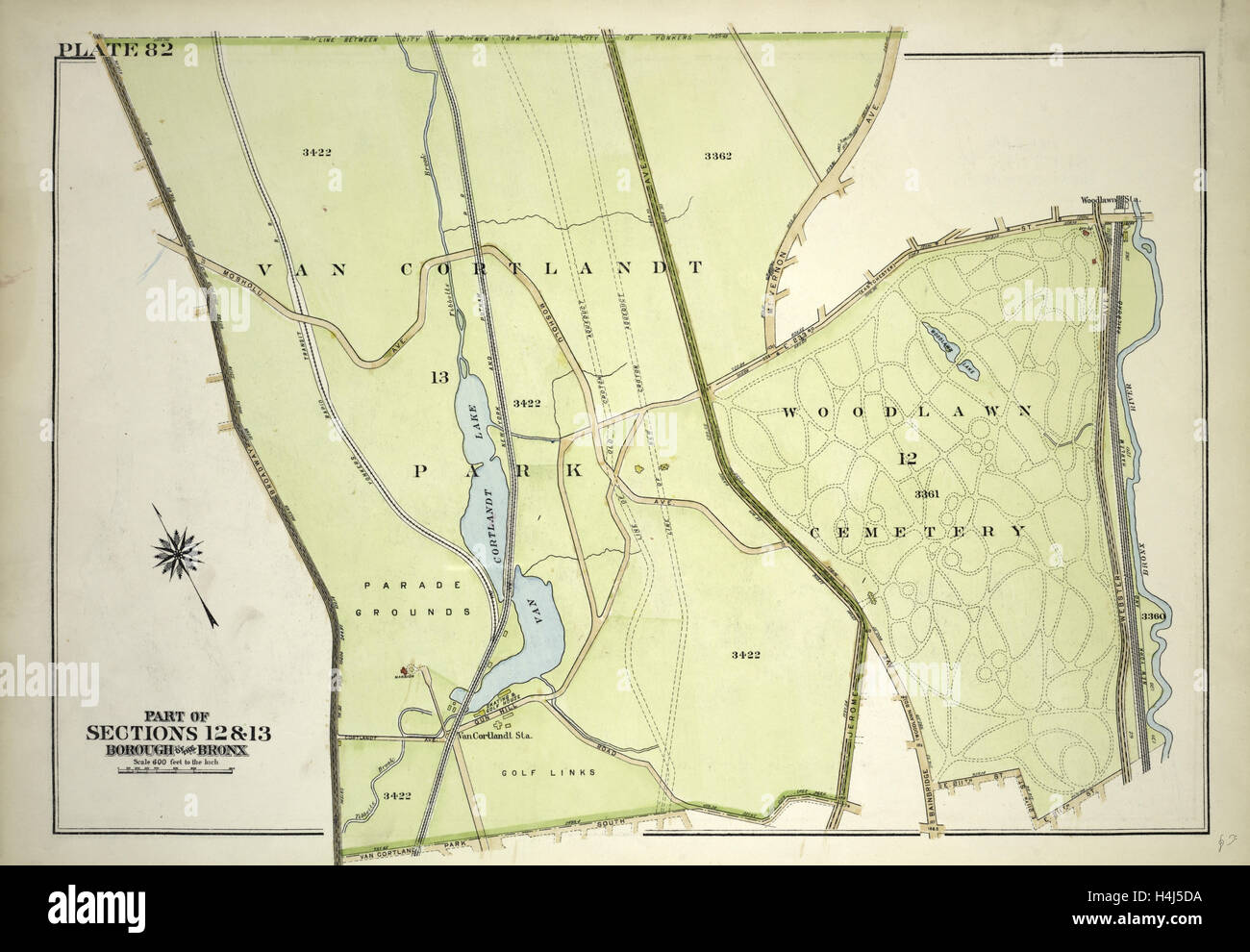 Plate 82, Part of Section 13, Borough of the Bronx. Bounded by Broadway, Van Cortlandt Park South, Gun Hill Road - Stock Image
