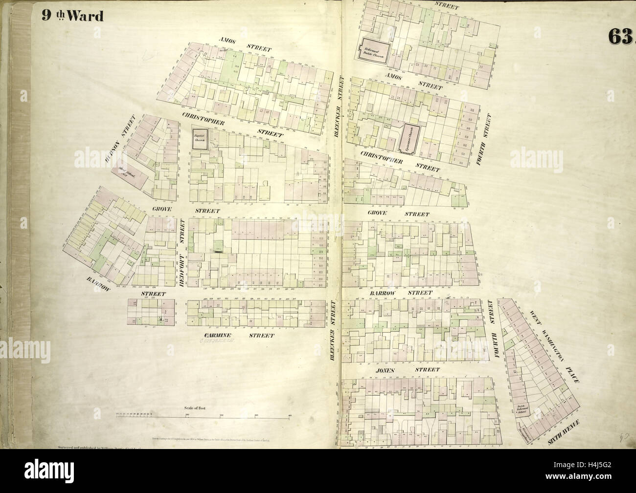 Plate 63: Map bounded by Amos Street, Charles Street, West 4th Street, West Washington Place, Sixth Avenue Cornelia Stock Photo