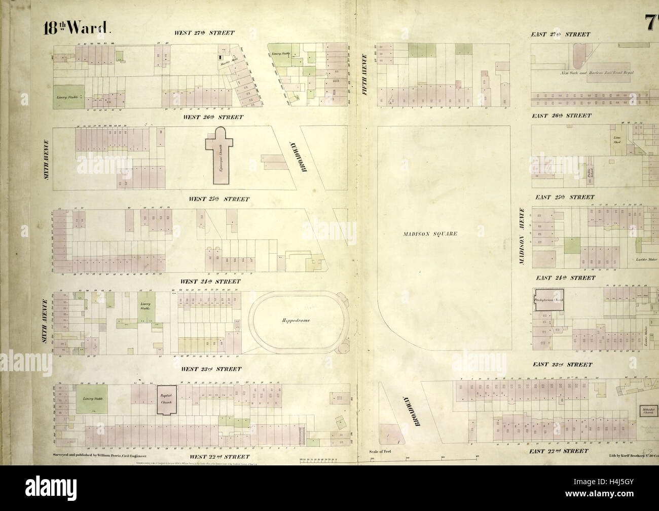 Plate 77: Map bounded by West 27th Street, East 27th Street, Fourth Avenue, East 22nd Street, West 22nd Street, - Stock Image