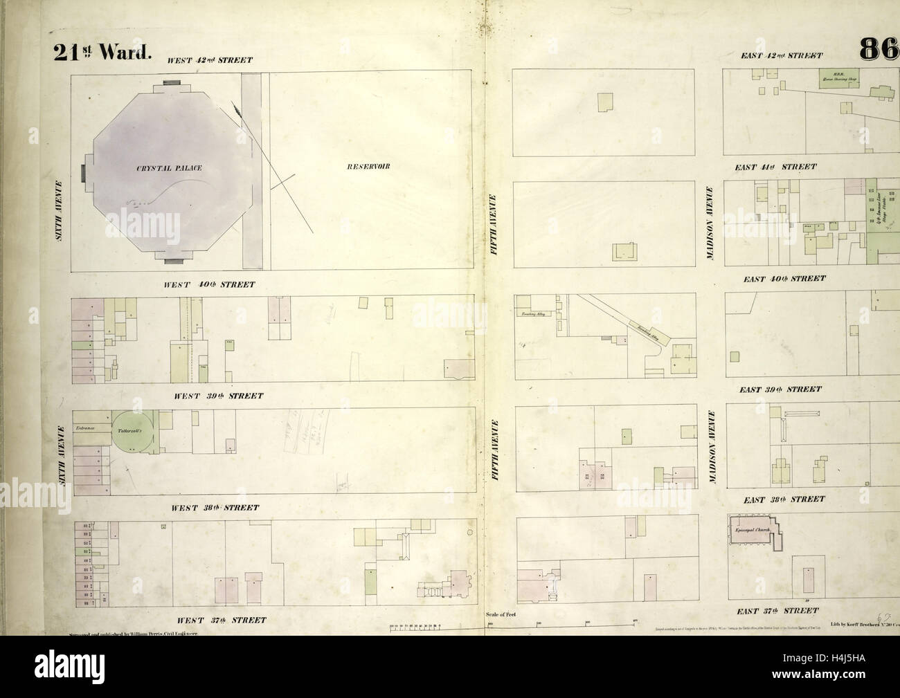 Plate 86: Map bounded by West 42nd Street, East 42nd Street, Fourth Avenue, East 37th Street, West 37th Street, - Stock Image