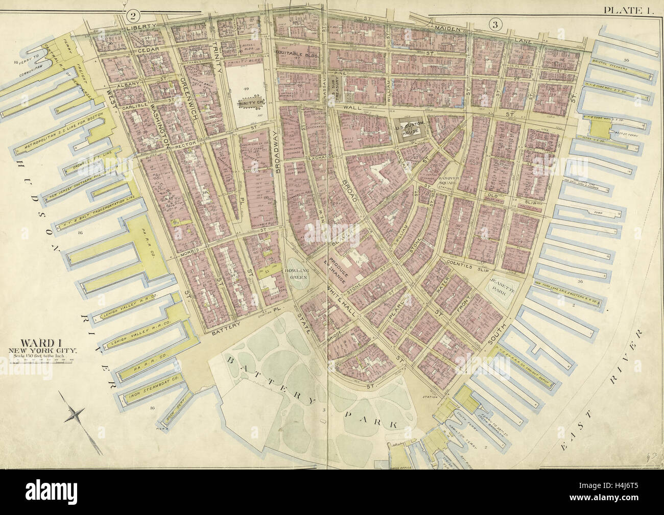 Manhattan Double Page Plate No 1 Map Bounded By Liberty St