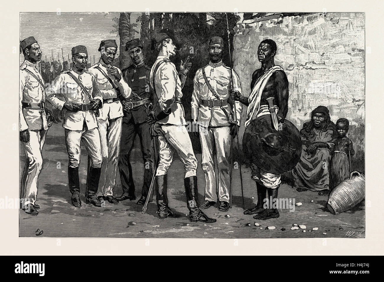 THE DERVISH ADVANCE, 1889: OFFICER OF THE EGYPTIAN ARMY RECRUITING SOUDANESE - Stock Image