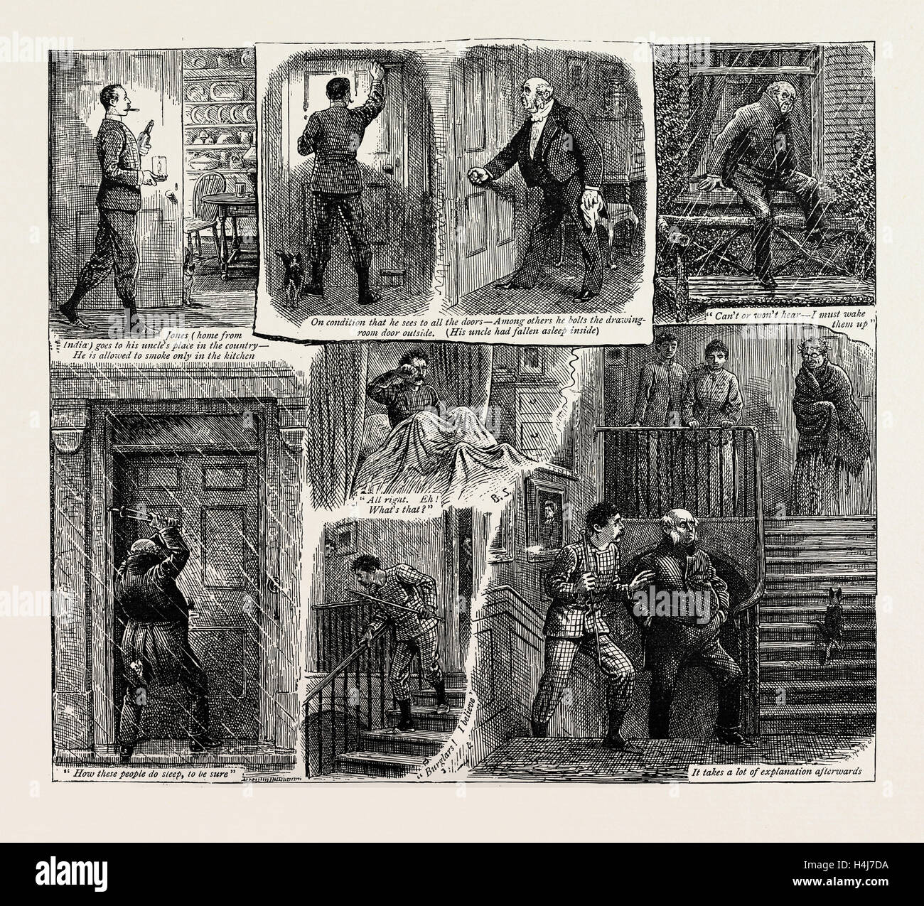 HOW JONES LOCKED OUT HIS UNCLE AND WAS CUT OFF WITH A SHILLING, 1889 - Stock Image