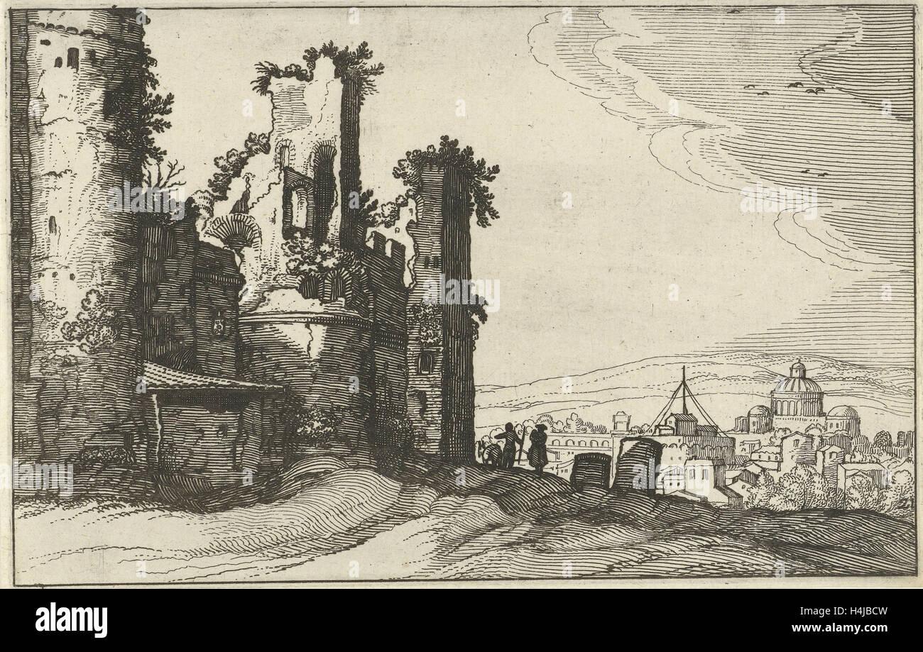 View of Rome from Monte Pincio, The Netherlands, Willem van Nieulandt (II), Anonymous, Claes Jansz. Visscher (II), - Stock Image