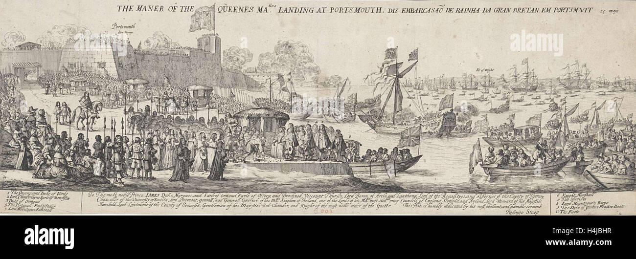 Arrival of Queen Catherine of Braganza in Portsmouth, Dirk Stoop, James Butler first Duke of Ormond, 1662 - Stock Image