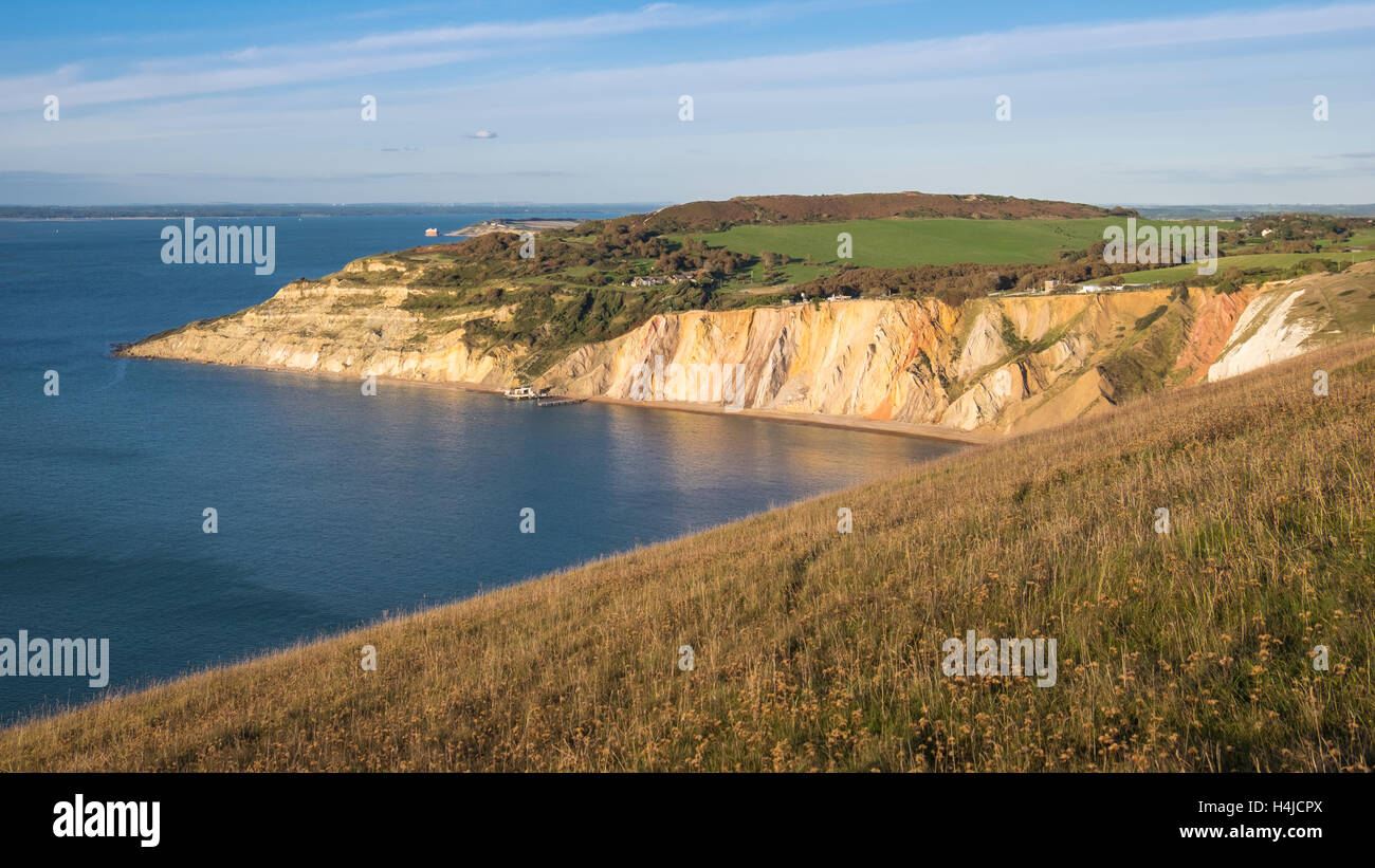 The multi-coloured sands of the Eocene sand formations that makes Alum Bay famous. - Stock Image