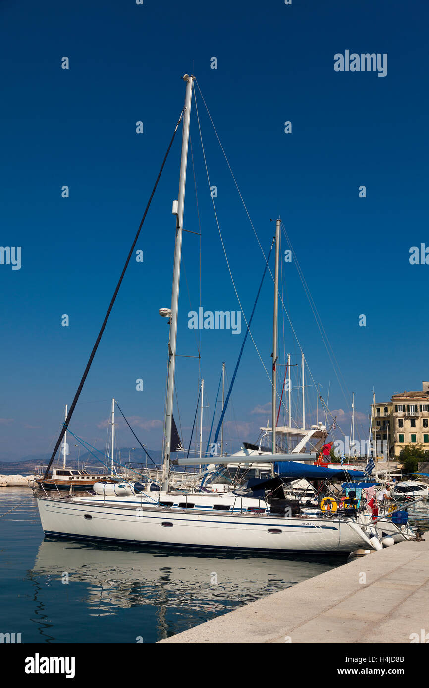 Yachts in the port of Corfu, Greek Ionian Islands, Greece - Stock Image