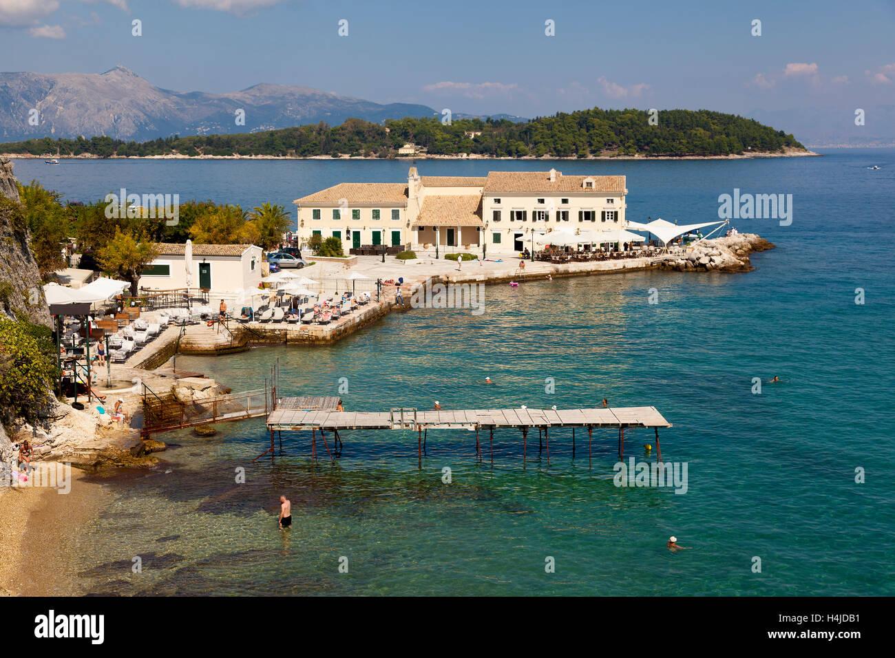 Beach in Corfu, Greek Ionian Islands, Greece - Stock Image