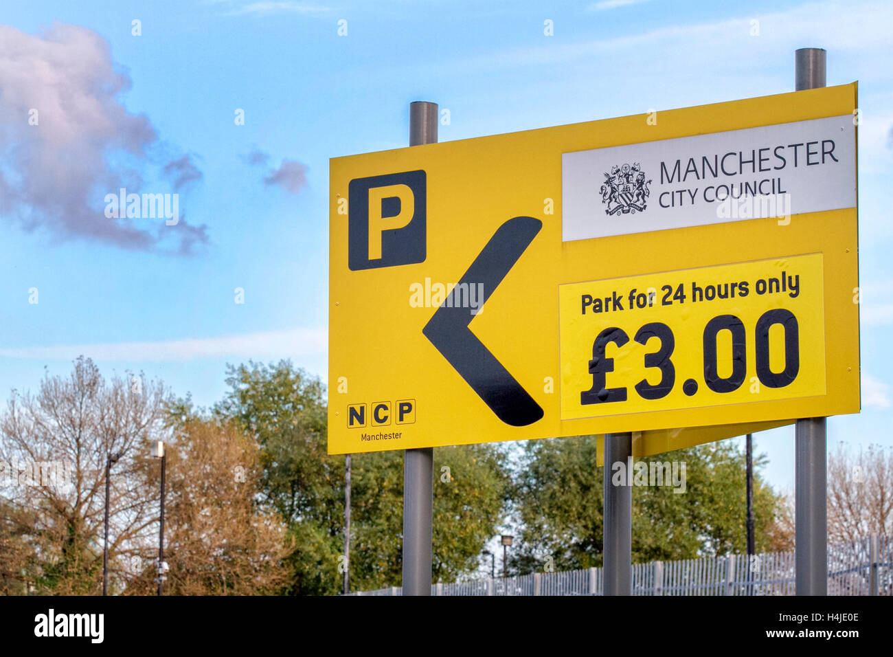 NCP Manchester City Council, parking for 24 hours only, £3, Greater Manchester, UK - Stock Image