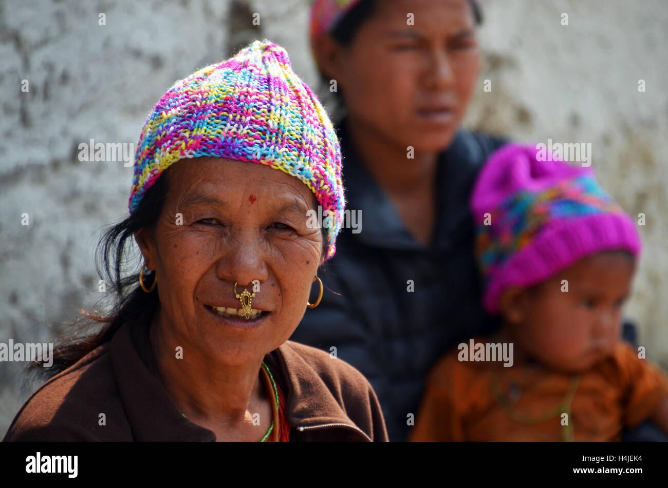 Dalit (untouchable) people in the village of Tamakhani, Solukhumbu, Nepal - Stock Image