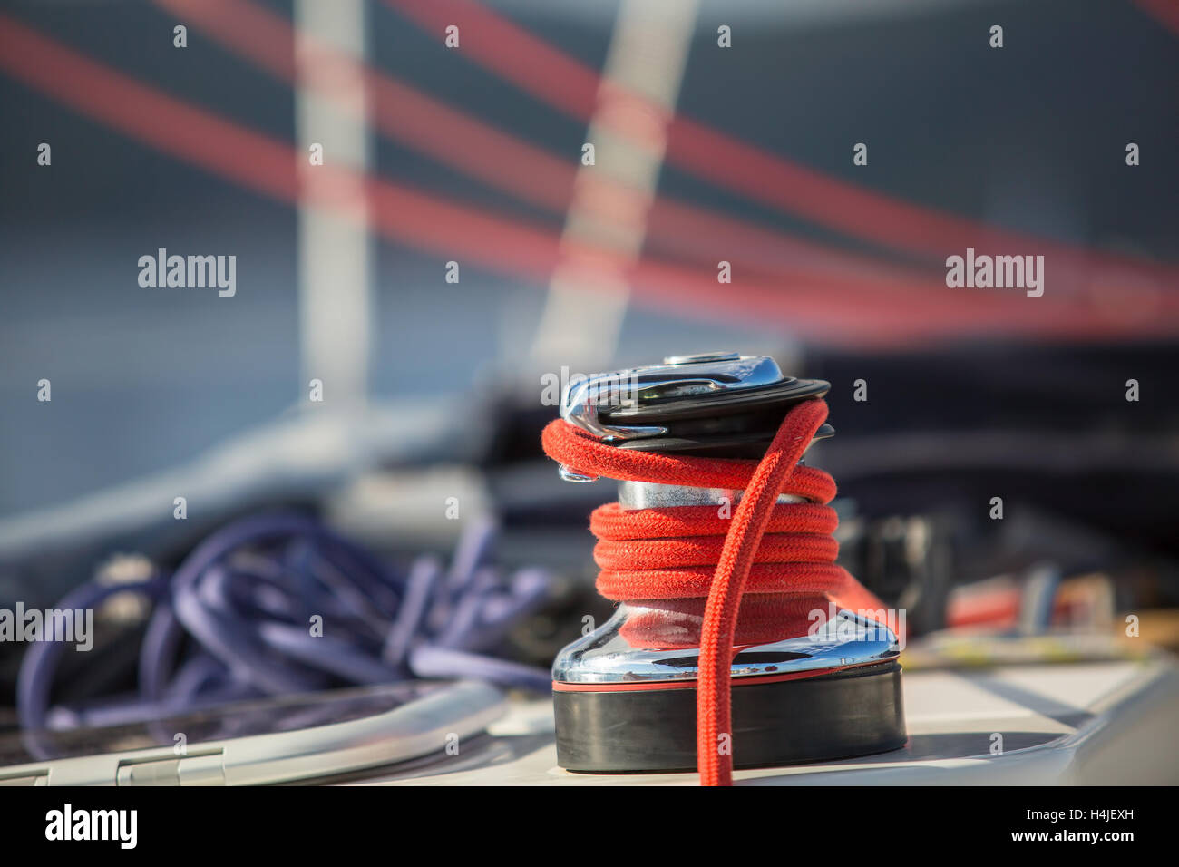 Sailboat winch and rope yacht detail. Yachting on the Sea. - Stock Image