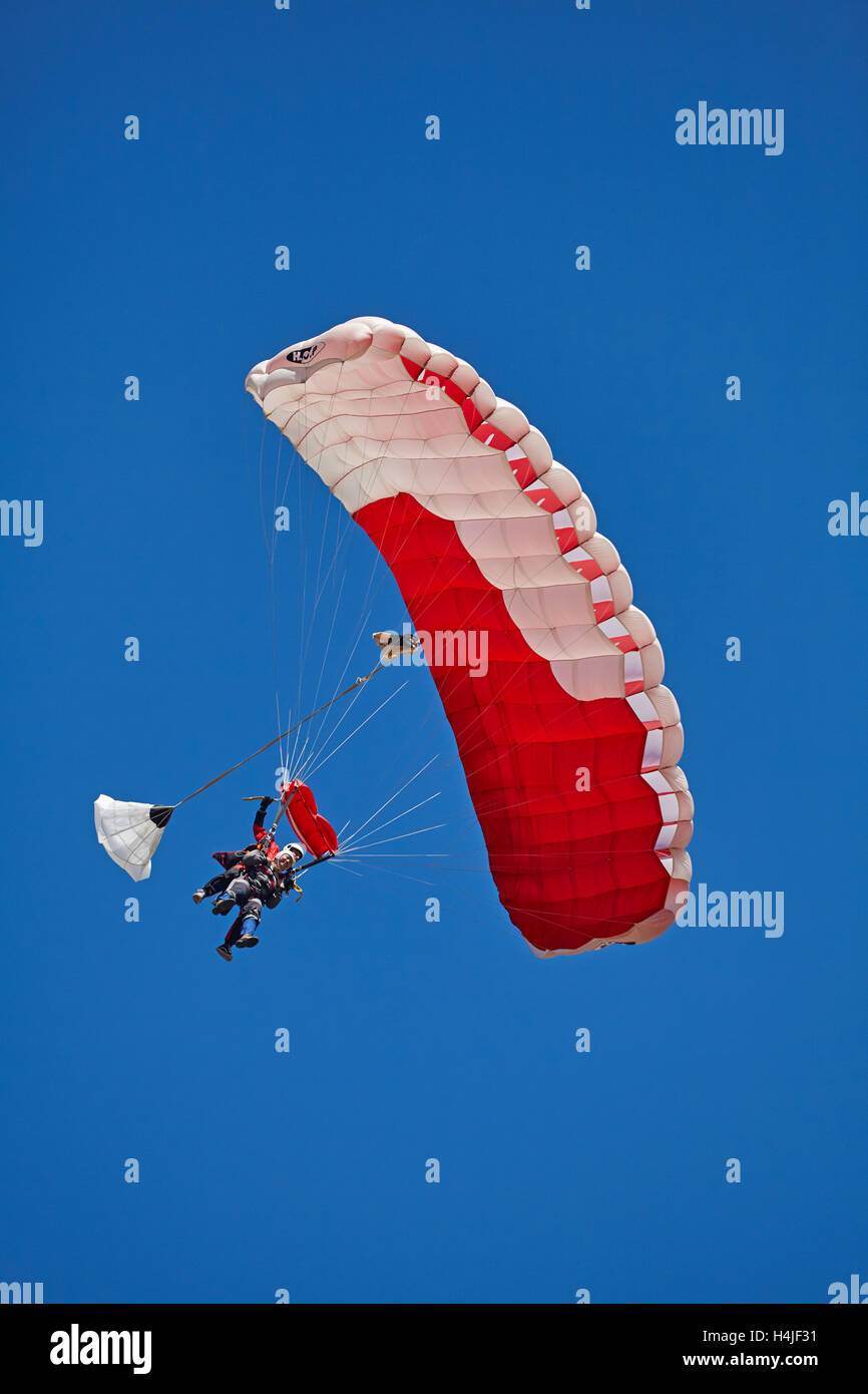 Tandem Parachuters, Queenstown, Otago, South Island, New Zealand - Stock Image