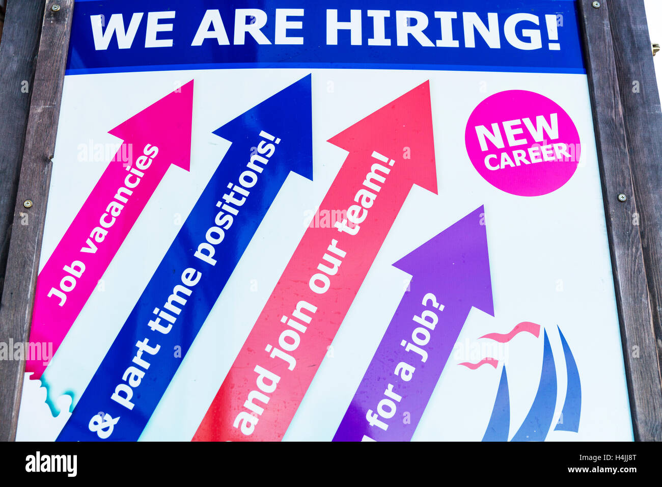 Hiring Jobs job vacancies sign hiring career new jobs employ employment up full or part time vacancy UK England - Stock Image