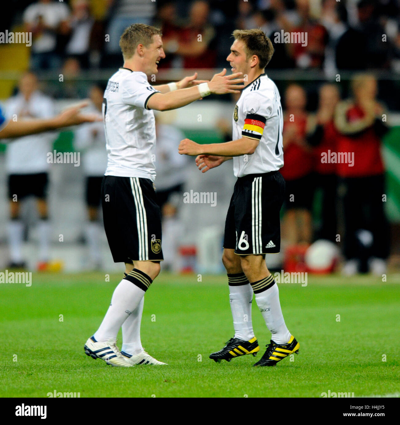 Bastian Schweinsteiger rejoicing with Philipp Lahm after his goal to 1:1, football match, Germany vs. Bosnia-Herzegovina, - Stock Image
