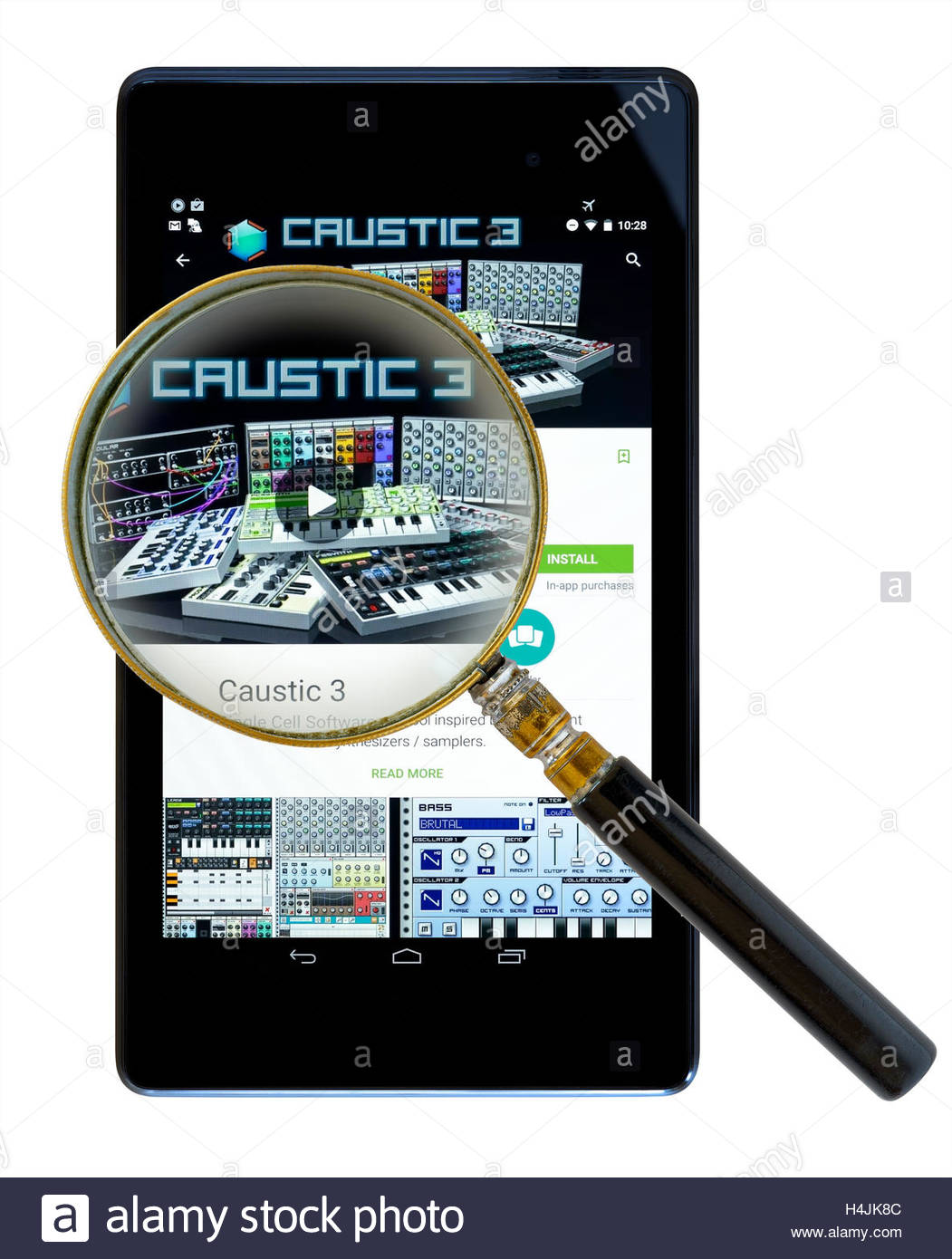 Music production app Caustic 3, shown on a tablet computer, Dorset, England, UK - Stock Image