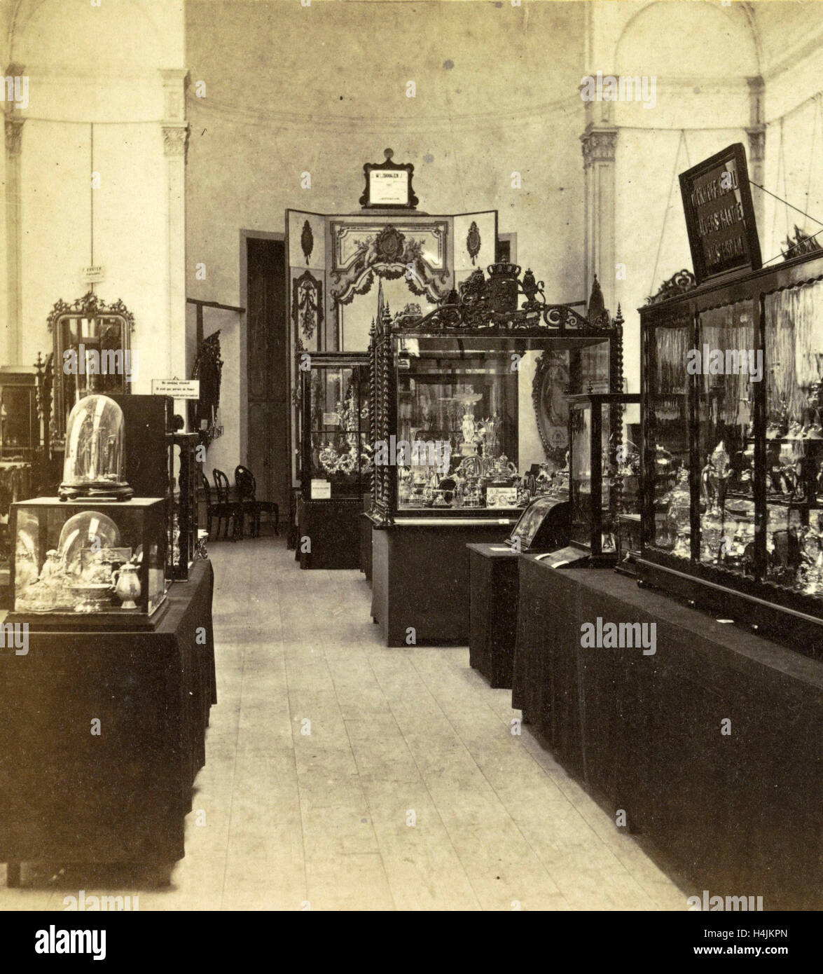 Display cabinets with objects in the exhibition of National Industry and Art in the Palace of Industry, Amsterdam Stock Photo