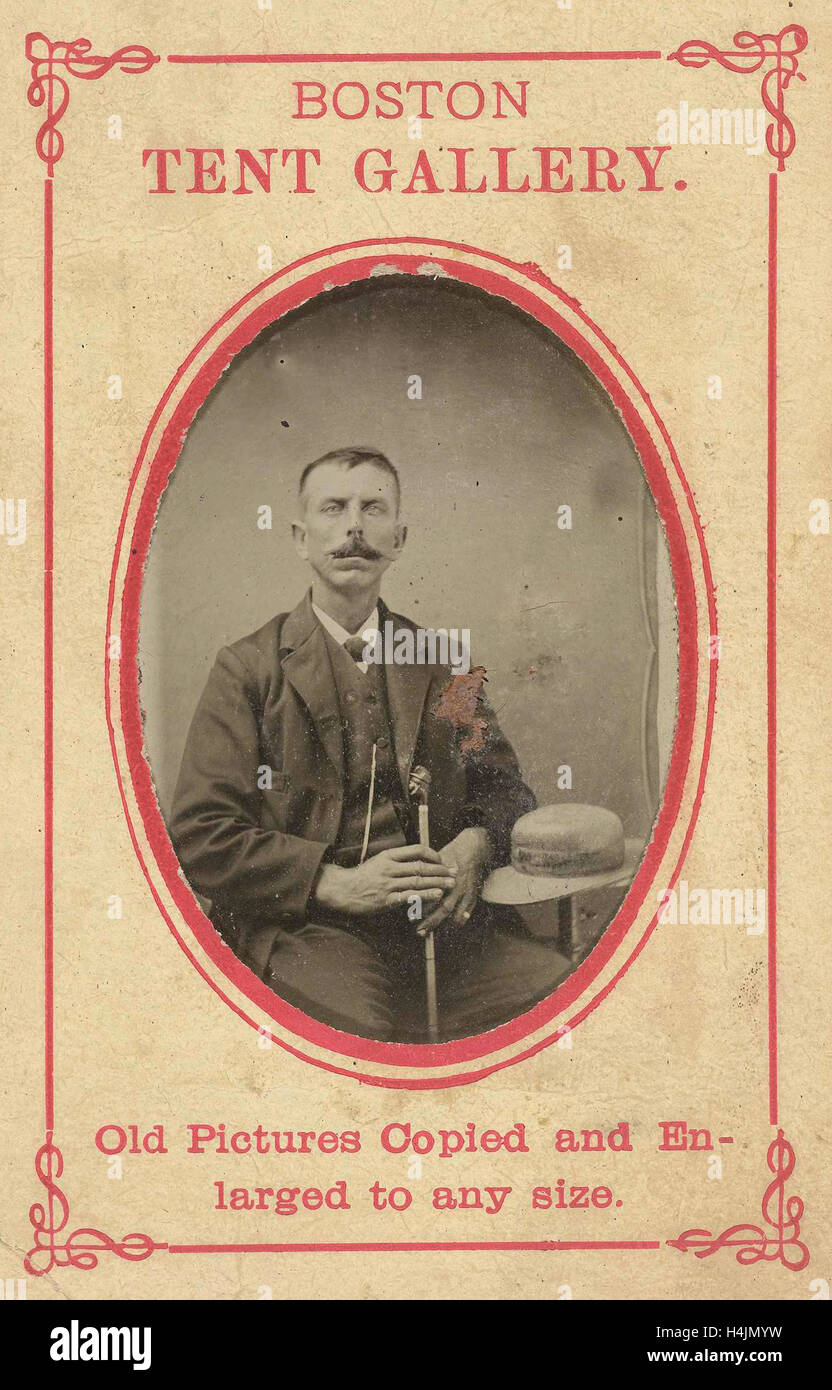 Portrait of a man with hat and cane Boston Tent Gallery c. 1870 - c. 1900  sc 1 st  Alamy & Portrait of a man with hat and cane Boston Tent Gallery c. 1870 ...