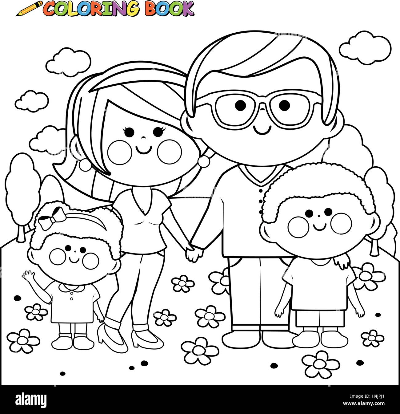 Happy family at the park coloring book page Stock Vector Art ...