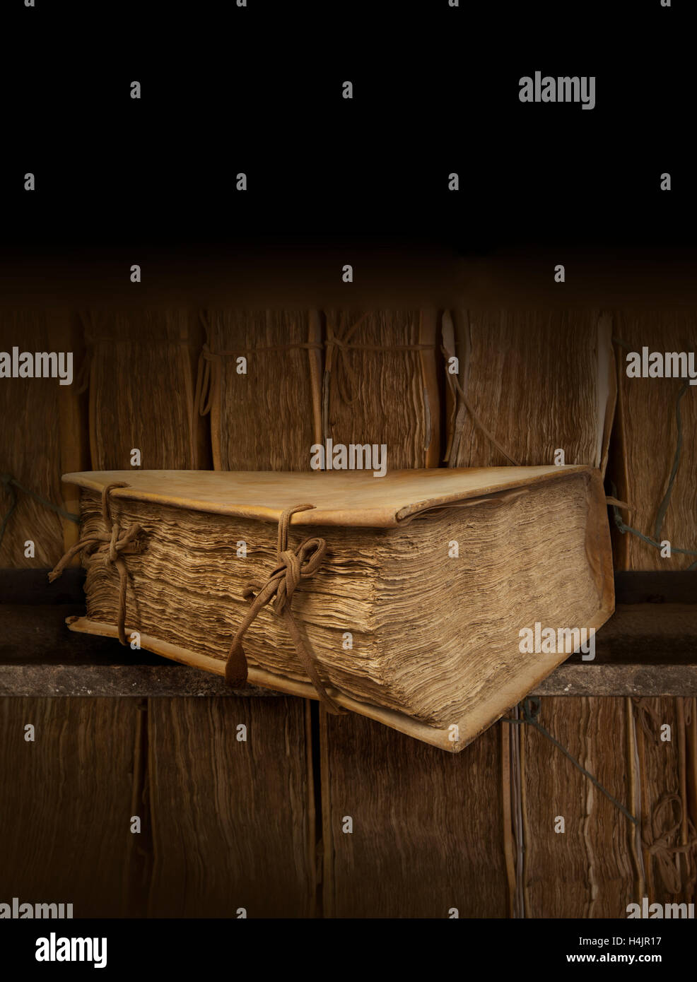 Ancient book. Background Library. Vertical. Mysterious book. Book of adventures. - Stock Image