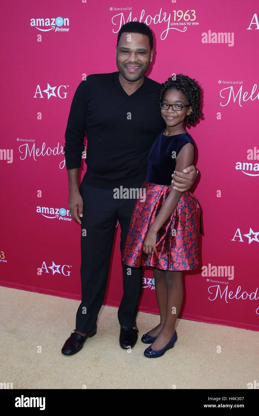 Los Angeles, CA, USA. 10th Oct, 2016. Anthony Anderson, Marsai Martin, Common at arrivals for AN AMERICAN GIRL STORY - Stock Image